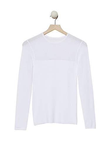 Cashmeren Women's Mesh Rib Sweater (Bright White, Large) ()