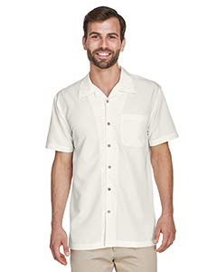 Gauze Camp Shirt - Harriton mens Barbados Textured Camp Shirt(M560)-CREME-XL