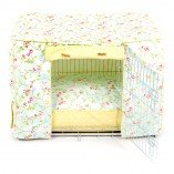 Dog Crate, Cover and Cushion Set in Seafoam Bird Trail and Yellow Dotty ( Ex Large ) (Black)