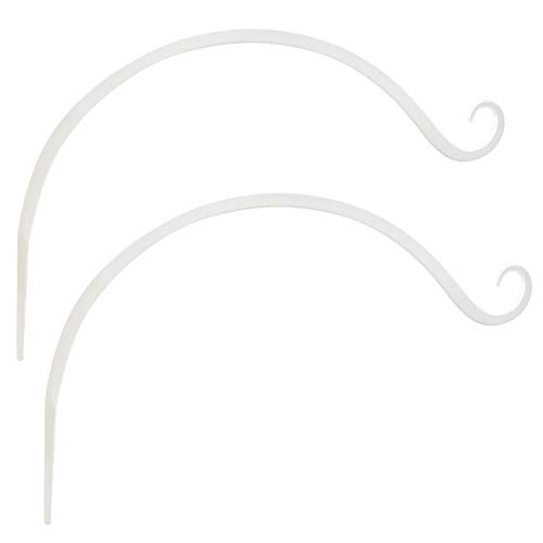 Curved Wall Construction - Gray Bunny GB-6820W2 Hand Forged Curved Hook, 14 Inch, Set of 2, White, Beautiful Outdoor Mounted Upturned Hook for Bird Feeders, Plants, Lanterns, Wind Chimes, As Wall Brackets and More!