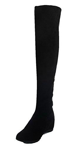 AgeeMi Shoes Damen Rein Hoher Absatz Rund Zehe Ziehen auf Stiefel Schwarz