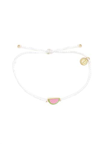 Pura Vida Watermelon Enamel Charm Bracelet - Adjustable Band, 100% Waterproof - White