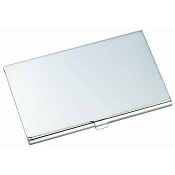silver tone business card holder engravable gift - Silver Business Card Holder