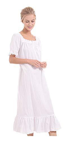 Women's Short Puff Sleeve Calf-Length Vintage Victorian White Nightgown 100% Cotton Embroidered Neckline & Cuff Flounce Hem ()