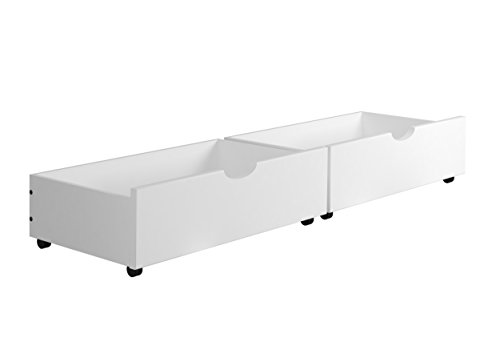 - Donco Kids 505-White Dual Under Bed Storage Drawer, White