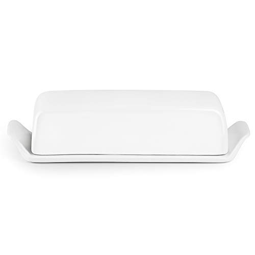 Porcelain Butter Dish with Lid - Suitable For Eastern/Western Pack Butter, with Measurement Markings On Butter Keeper, White - Better Butter & Beyond