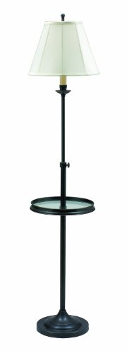 House Of Troy CL202-OB Club Collection Portable Floor Lamp with Glass Table, Oil Rubbed Bronze with White Softback Shade