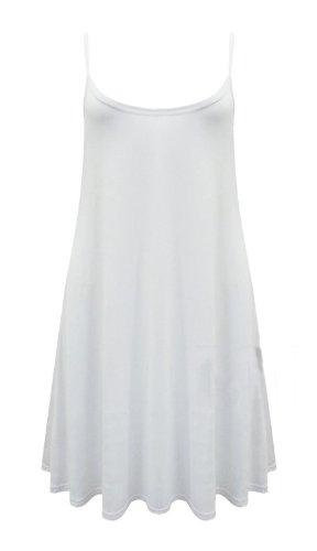 Janisramone Des Femmes De L'ourlet Sans Manches Hanky plaine Évasé Longue Robe Cami Moulantes Swing Débardeur Blanc