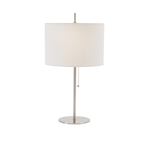 Fangio Lighting 34290TBS Metal Table Lamp in Brushed Steel with Pull Chain