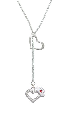 Silvertone Crystal Heart with Nurse Hat - Heart Lariat Necklace, 18
