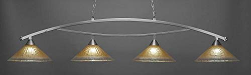 Toltec Lighting 874-BN-710 Bow - Four Light Billiard, Brushed Nickel Finish with Amber Crystal Glass