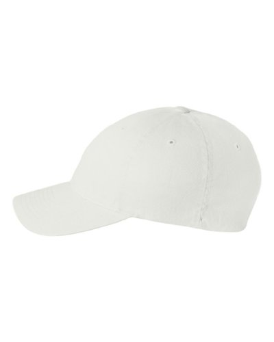 Bill Fitted Cap - Flexfit Low-profile Soft-structured Garment Washed Cap (White, Small/Medium)