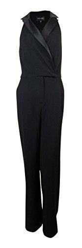 Xscape Women's Satin Trim Collar Pocketed Jumpsuit (4, Black) by Xscape