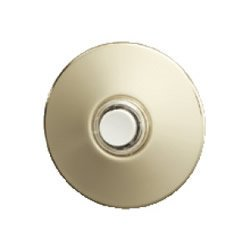 (NuTone PB41BGL Wired Unlighted Round Stucco Door Chime Push Button, Polished Brass)