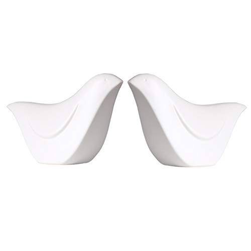 (MTSCE Ceramic Birds Porcelain Bird Figurines Home Decor Bird, Set of 2(XN02 White-Large))