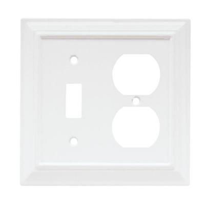 Wood Architectural 1 Toggle and 1 Duplex Combination Wall Plate - White