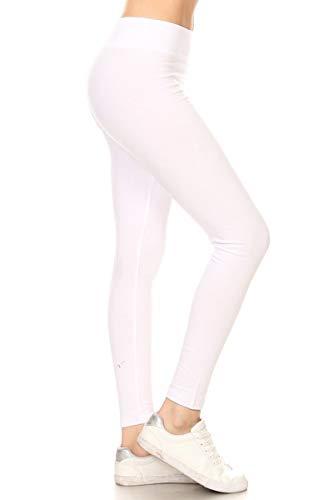 (Leggings Depot Women's Ultra Soft French Terry Cotton Blend Drawstring Twill Jogger Cotton Pants (HIGH Waist- White,)