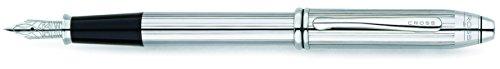 Cross Townsend Lustrous Chrome Fountain Pen with Stainless Steel Medium Nib