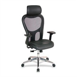 Lorell High Back Executive Chair - Leather Black Seat - Aluminum Frame - 24.9
