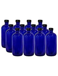 (12 Pack 16 Ounce Boston Round Glass Bottles with cap (Cobalt Blue))
