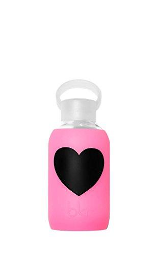 bkr - BEST Original Glass Water Bottle - Premium Quality - Soft Silicone Protective Sleeve - BPA Free - Dishwasher Safe (8oz/250ml)-Bambi Heart - Sheer Neon - Heart Amazon Glasses