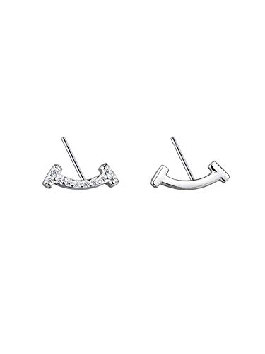 FashionEarring 925 sterling silver flashing smiley earrings temperament compact earrings simple wild -