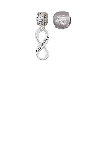 Godmother Infinity Sign Aunt Charm Bead with You Are More Loved Bead (Set of 2)