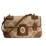 Coach Peyton Signature Sateen Flap Handbag Khaki Nutmeg 14504