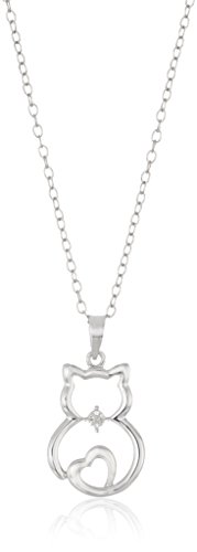 Sterling Silver Diamond Accent Cat Pendant Necklace, 18""