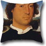Pillowcover Of Oil Painting Hans Memling Memling - Portrait Of An Unknown Man With A Letter,for Drawing Room,lounge,girls,festival,indoor,bar 18 X 18 Inch / 45 By 45 Cm(two Sides)