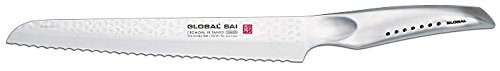 Global SAI-05 Bread Knife, 9'', Silver