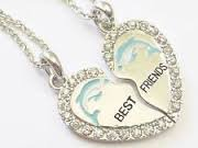 BEST FRIEND Dolphin Heart Silver Tone 2 Pendants 2 Necklaces BFF Friendship...