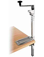 BOJ Commercial Grade Manual Can Opener with Angled Bar (Nickel Plated) Medium Duty Table Mount with 19'' Bar Length