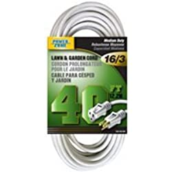 POWER ZONE OR883628 Extension Cord 16/3 SJTW Water Resistant, 40-Feet, White