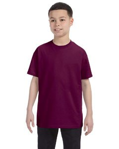 Gildan boys Heavy Cotton T-Shirt(G500B)-MAROON-L
