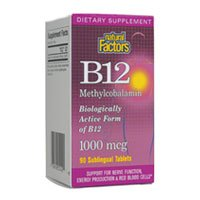 B12 Methylcobalamin, 90 Sublingual Tablets, 1000 mcg, From Natural Factors ( Multi-Pack)