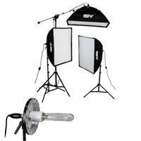 (Smith-Victor 2500 Watt Pro Softbox Three Light Kit with 10' Stands, 2 1000W & 1 500W Quartz Lamps.)