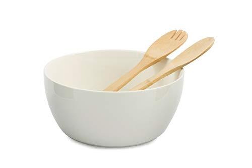 Villa d'Este Home Tivoli 2420997 Gourmet Salad Bowl and Cutlery Set Bamboo, Porcelain, White (Villa Deste Bowl)