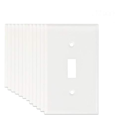 (12-Pack LoGest 1-Switch White Wall Plates - Metal Steel- Home Electrical Outlet Cover - Port Replacement Receptacle - Faceplates Covers - Matching screws)