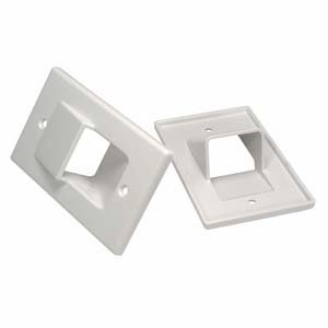 InstallerParts 1-Gang Recessed Wall Plate – White – Hold up to 4 (Gang Split Port Almond)