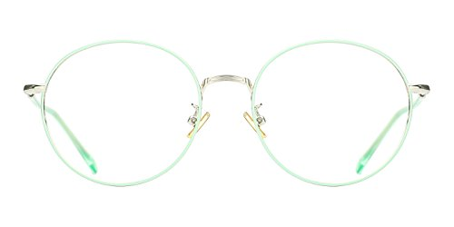 TIJN Vintage Round Thin Rim Metal Frame Clear Lens Eyeglasses For - Double Eyeglasses Bridge