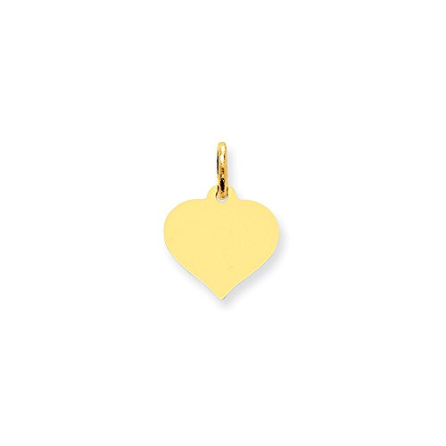 14k Yellow Gold Heart Disc Charm (0.7IN long x 0.5IN wide) Heart Disc 14k Gold Charm
