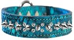 Mirage Pet Products Double Clear Crystal and Silver Spike Dragon Skin Genuine Leather Dog Collar Blue Size 20