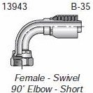 "Parker HF 13943-06-06 - 13943-6-6 Fitting 3/8"" Hose x 3/8"" Female JIC 37° - Swivel - 90° Elbow - Short Drop"
