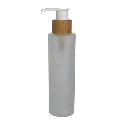 - 1PCS 150ML 5.1OZ Refillable Empty Frosted Glass Lotion Press Bottle with White Pump Head Liquid Foundation Dispenser Emulsion Essence Moisturizer Storage Holder Pot Travel Jar Vial Cosmetic Container