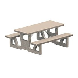 Rectangular Concrete Picnic Table - 72