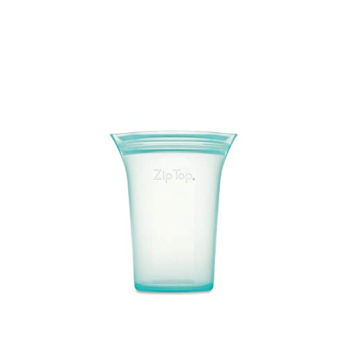 🥇 Zip Top Reusable 100% Platinum Silicone Containers – Small Cup – Teal