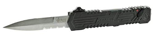 - Viper 3, OTF, Black Handle, Bead Blast Blade, Serrated