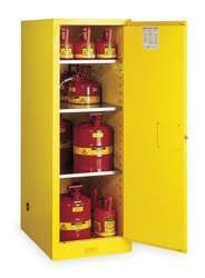 (Justrite 895400 Sure-Grip Slimline Flammables Cabinet, Manual-Close, 54 Gal, Yellow )