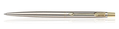 Parker Stainless Steel Classic Ball Pen with Gold Plated Clip Fine Point Fitted with NEW Quink Flow Refill (Parker Pens Pencils)